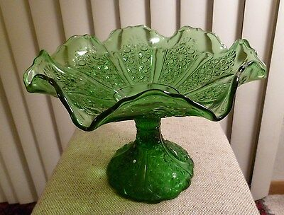 Large BUTTON and DAISY stemmed green glass COMPOTE / FRUIT BOWL / CENTER PIECE
