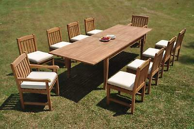 """11 Pc Teak Outdoor Dining Set 118"""" Double Extn Rect Table,10 Devo Armless Chairs"""