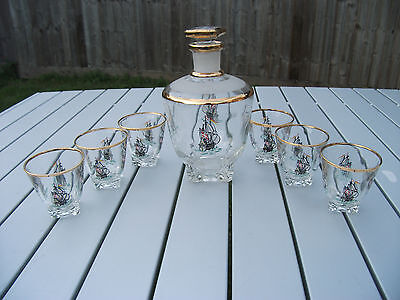 Vintage French Art Glass Ship Decanter Liquor Set