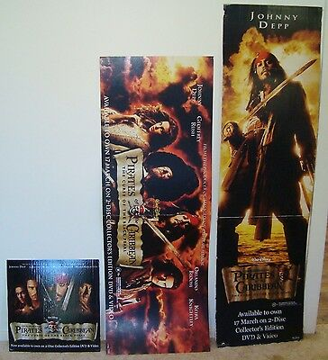 johnny depp pirates CARDBOARD STAND Promotional DISPLAY  BLACK posters lot  2003