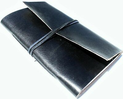 Handmade Leather Classic Black Refillable Journal Diary Notebook Great Gift