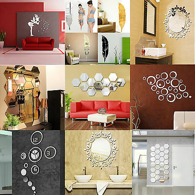 Hot Fashion 3D Acrylic Mirror DIY Wall Home Decal Mural Decor Vinyl Art Stickers