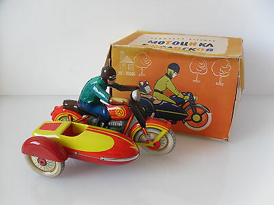 Tin motorcycle with sidecart Russian USSR Soviet copy of Tippco Vintage 1960 toy