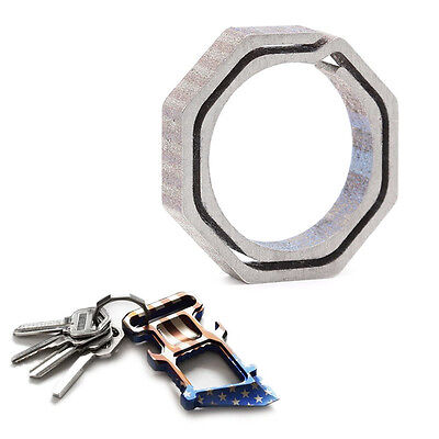 Titanium Alloy Mini Octagon Quick Release Keychain Hanging Key Ring Tool Outdoor