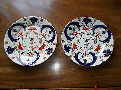 """PAIR of ANTIQUE GAUDY WELSH 6"""" TEA PLATES numbered 2286"""
