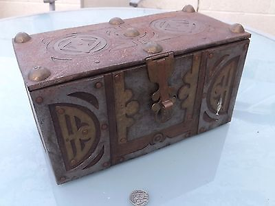 Antique Indian Islamic Persian Middle Eastern Wood & Steel Strapped Casket Box