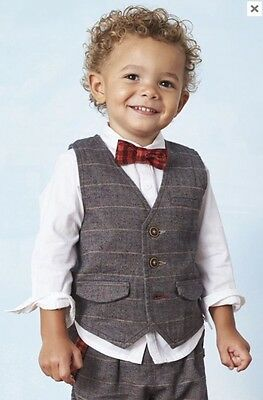 Next BNWT Boys Smart Shirt Waistcoat & Bow Tie Tweed Set 12-18 Months Occasion
