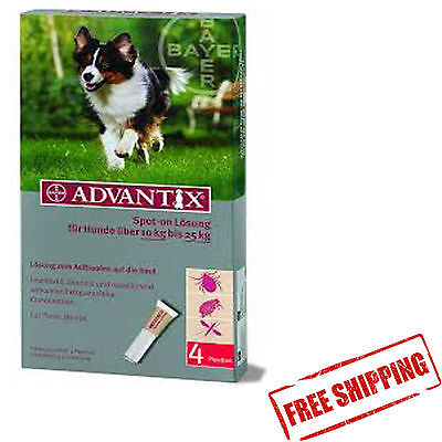 ADVANTIX 10-25KG 4 spot-on for dogs chien hunde perro FREE SHIPPING EUROPE