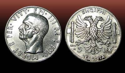 5 LEK . SILVER COIN. MADE IN ITALY . ALBANIA 1939 - nr 28