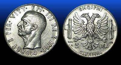 5 LEK . SILVER COIN. MADE IN ITALY . ALBANIA 1939 - nr 27