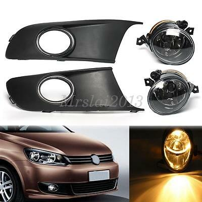 Pair Car Front Fog lights & Protect Cover Grille Set For VW TOURAN CADDY 10-14