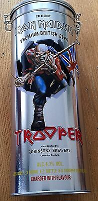 IRON MAIDEN Trooper Beer + 1 Pint Glass in a Metal Box - Bottle FULL and NEW