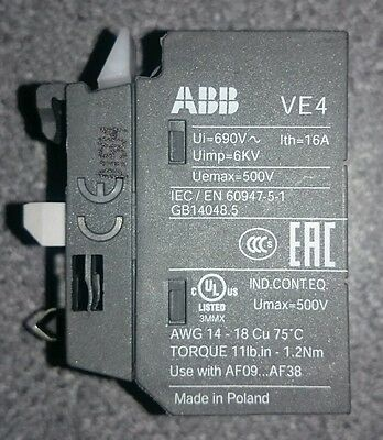 Brand new ABB Control Electrical Interlock VE4 auxiliary contact NC star delta