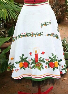 Vintage Upcycled Tablecloth,SKIRT, XMAS PARTY Fun, Cotton,  3/4 circle, 10 FUN