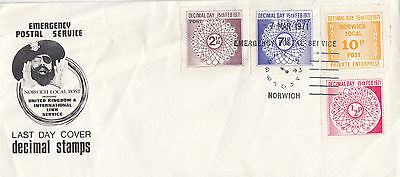 1971 POSTAL STRIKE : NORWICH LOCAL POST  1/2p-10p on Last Day Cover