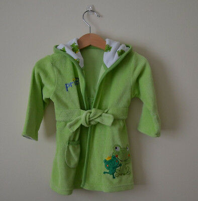 Green Frog Baby Dressing Gown Bath Robe 0-9 months