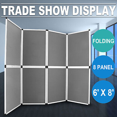 8 Panel Folding Trade Show Backdrop Booth Banner Exhibit Display 6'x8' - GRAY