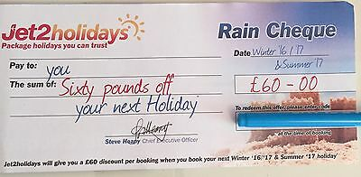 Jet2 Rain Cheque Holiday Voucher Winter 2016/17 And Summer 2017