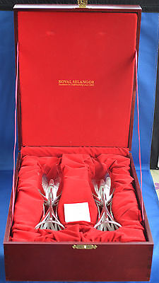 Rare Royal Selangor Pewter & Glass Champagne Flutes Wood Box Nouveau Style