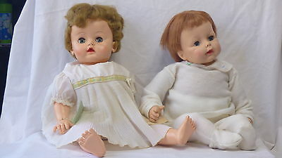 """2 Large Vintage Effanbee Dolls - 21"""" Tall With Rooted Hair & Cute Outfits - 1960"""