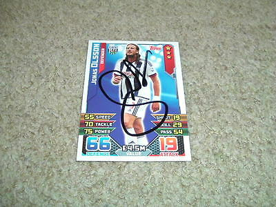 Jonas Olsson - West Bromwich Albion - Signed 15/16 Match Attax Trade Card