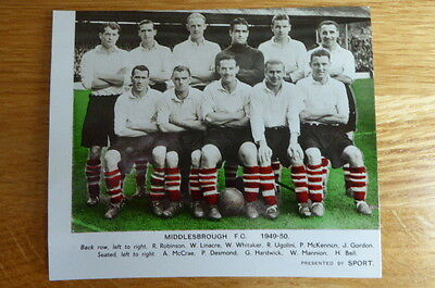 Sport : Team Picture Book Photo Middlesbrough Football Team  1949/50