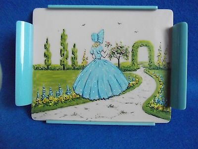 Vintage Art Deco Small Pretty Pink & Blue Lucite Tray + Crinoline Lady; Stunning
