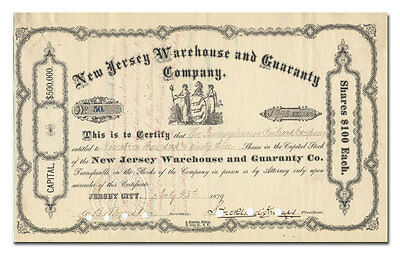 New Jersey Warehouse and Guaranty Company Stock Certificate (1879)