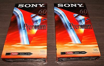 2 x 60 minute SONY E-60VG Premium Grade Blank VHS Tapes - Brand New & Sealed