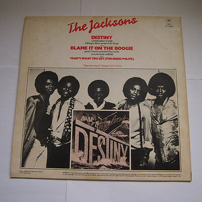 """The Jacksons Destiny Blame It On The Boogie  Limited Edition 12"""" Single Record"""