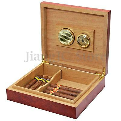20Count Brown Cedar Wood Lined Cigar Humidor Humidifier Case Box With Hygrometer