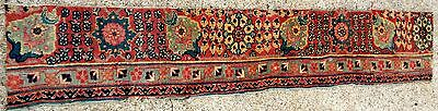 "EARLY 19th CENTURY KHORASAN  PERSIAN ORIENTAL RUG FRAGMENT SIZE 9"" x 4' 8"""
