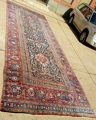 "ANTIQUE PERSIAN ORIENTAL RUG RICH COLORS-INTERESTING DESIGNS SIZE 7' 2"" x 20' 3"""