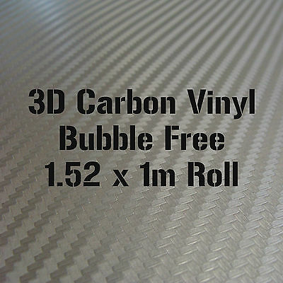 3D Textured Grey Carbon Fibre Vinyl 1.52 x 1m Roll - BUBBLE/AIR FREE Car Wrap
