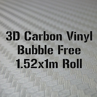 3D Textured Silver Carbon Fibre Vinyl 1.52 x 1m Roll - BUBBLE/AIR FREE Car Wrap