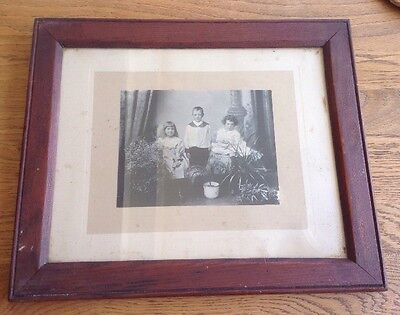 Old Edwardian / Victorian ?? Family / Siblings Photograph - Framed