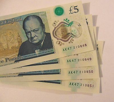 £5.00 note Bank of England New Plastic/ polymer AK47 consecutive serial numbers