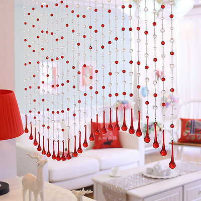 20 Strands Red Drops Glass Crystal Curtain for Width 0.6~1.0M Window Door Deco