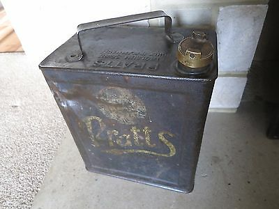 Vintage 1932 Pratts two gallon petrol can tin original paint and transfers