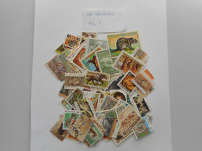 100 used ostage stamps ANIMALS PK1  no doubles