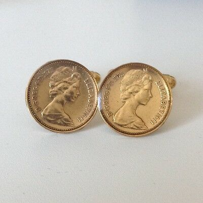 1975 1/2p Coin Cufflinks. Gold plated and glazed. 41st Birthday.
