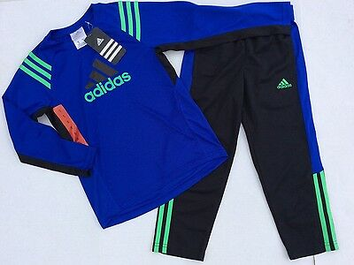 NWT Adidas Boys Size 3 Long Sleeve Shirt Pants 2 Piece Set Outfit Blue Athletic