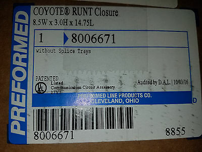 Brand New 8006671 Coyote Runt Fiber Optic Splice Case Preformed Line Products