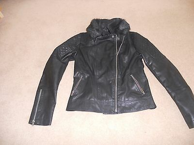 oasis girls ladies small leather jacket size 6 8