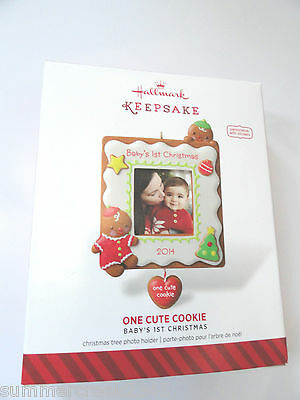 "Hallmark ""One Cute Cookie"" Baby's First Christmas Photo Holder Ornament 2014"