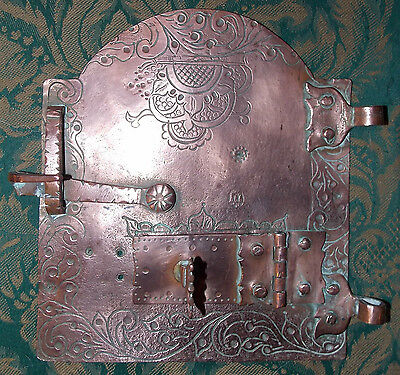 Antique Eastern beaten copper arched DOOR hatch bread-oven cupboard latch vent
