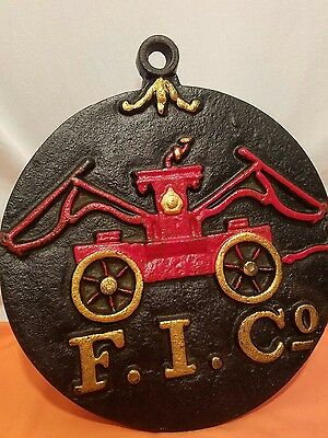 """F. I. Co. 11.75 """" Round Fire Mark Firemens Insurance Co. Outdoor Cast Plaque"""