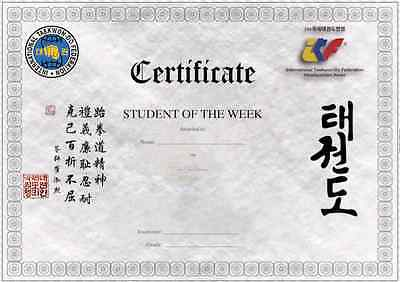 Student of the Week CERTIFICATES for ITF Taekwondo - with NEW ITF Logo