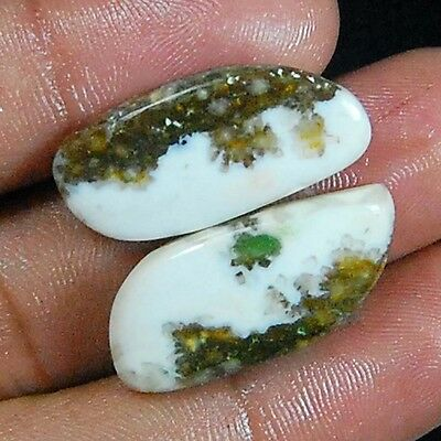 24.00 Cts 100% NATURAL OCEAN JASPER FANCY CABOCHON 2PC PAIR LOOSE FANCY GEMSTONE