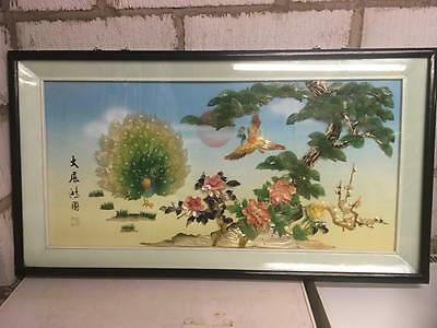 Large Chinese Framed Picture Peacocks Birds Asian Oriental Scenery Decor